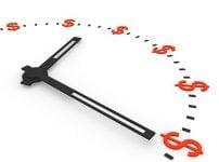 時計の針とドル